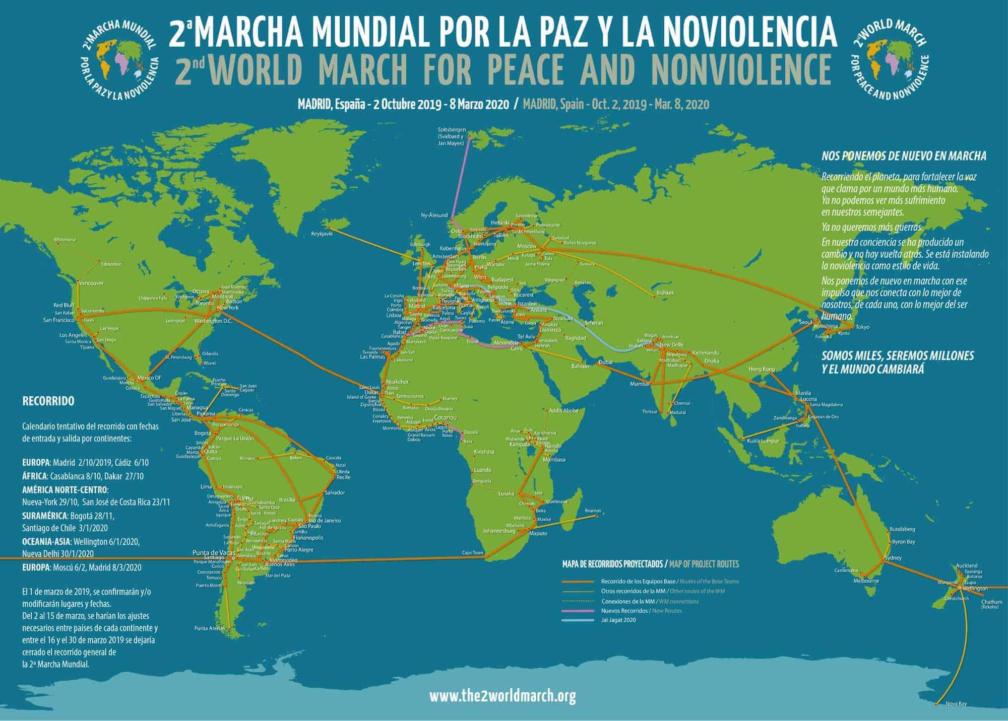 Mapa Norte España Costa.Route The World March