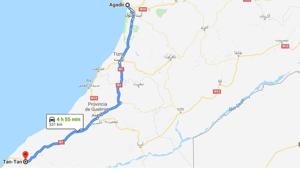 Ankunft in Tan-Tan, Marokko