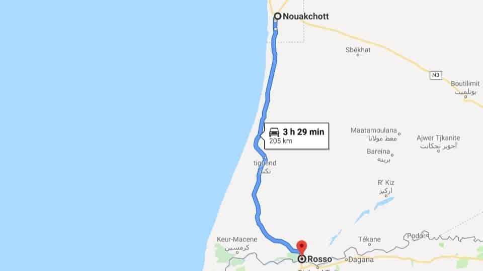 Ankunft in Rosso von Nouakchott
