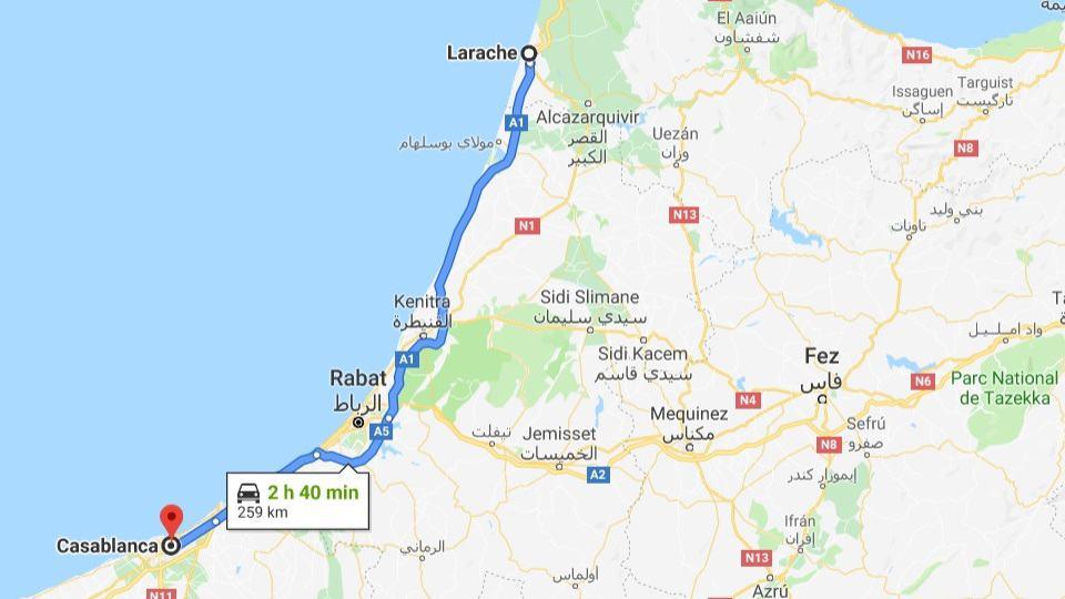 Ankunft in Casablanca, Marokko
