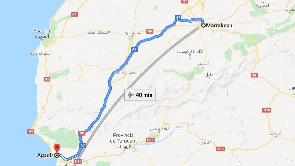 Ankunft in Agadir, Marokko