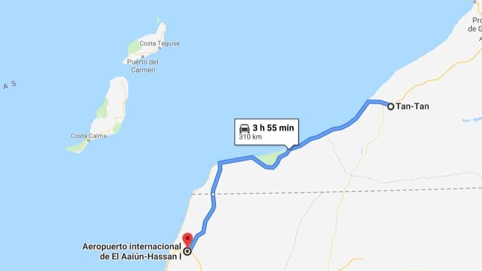 Ankunft in Aaiún, Marokko